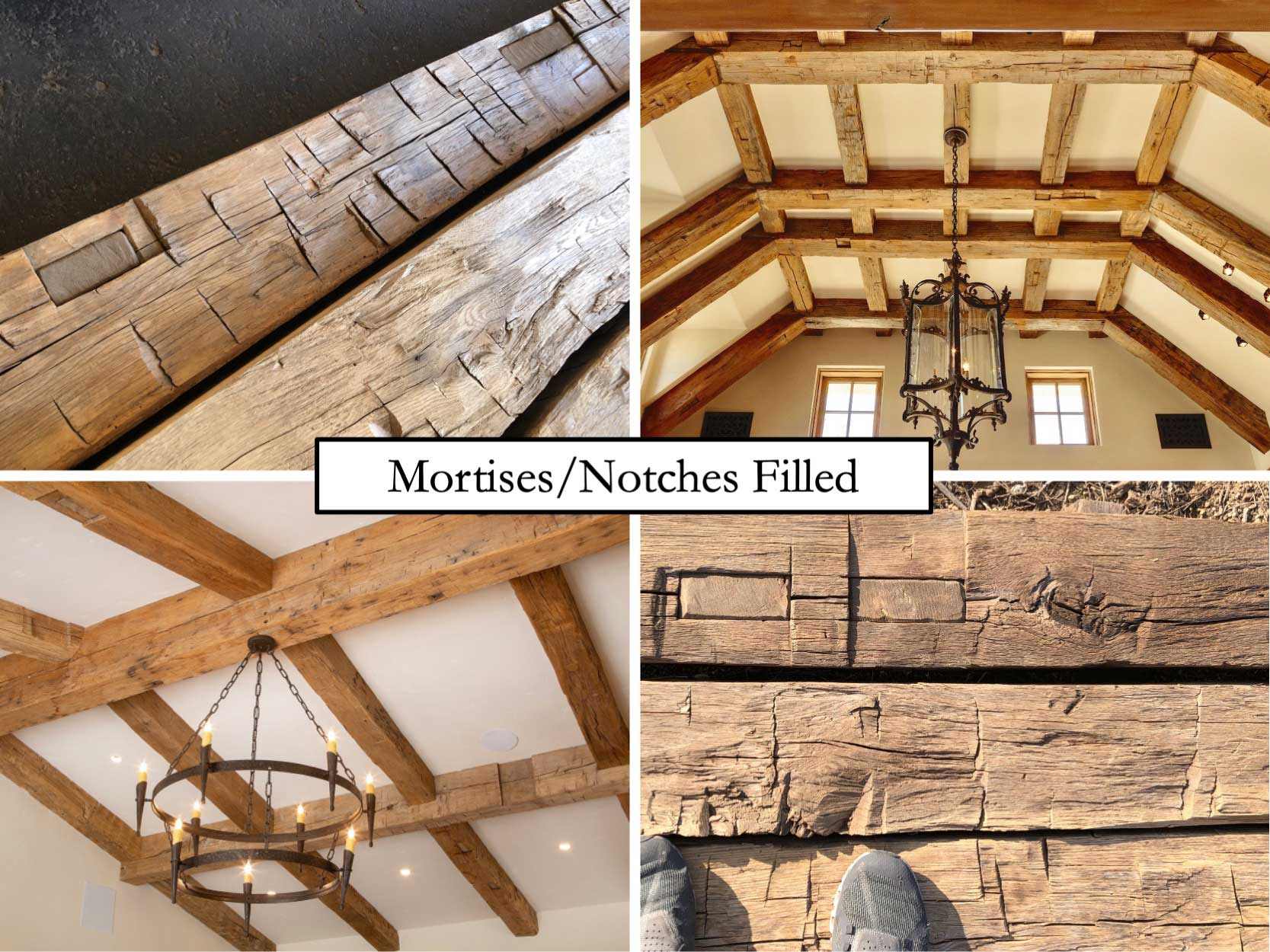 hardwood barn timbers with notches filled