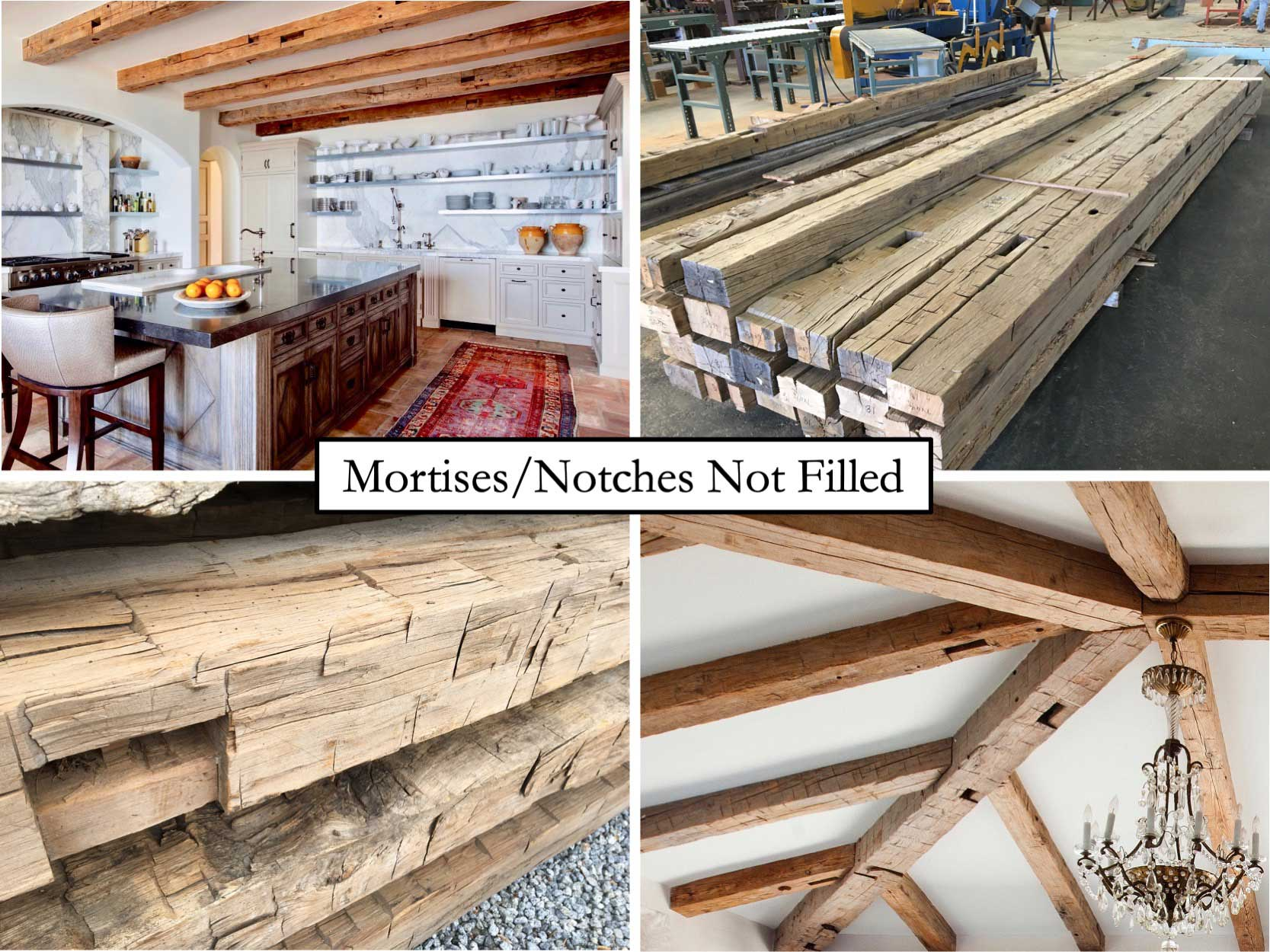 hardwood barn timbers with notches