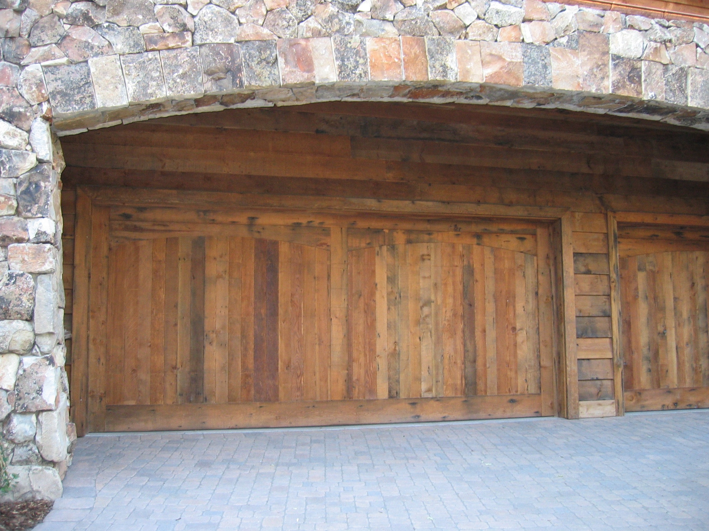 sanded douglas fir custom garage door - Reclaimed Planking Douglas Fir