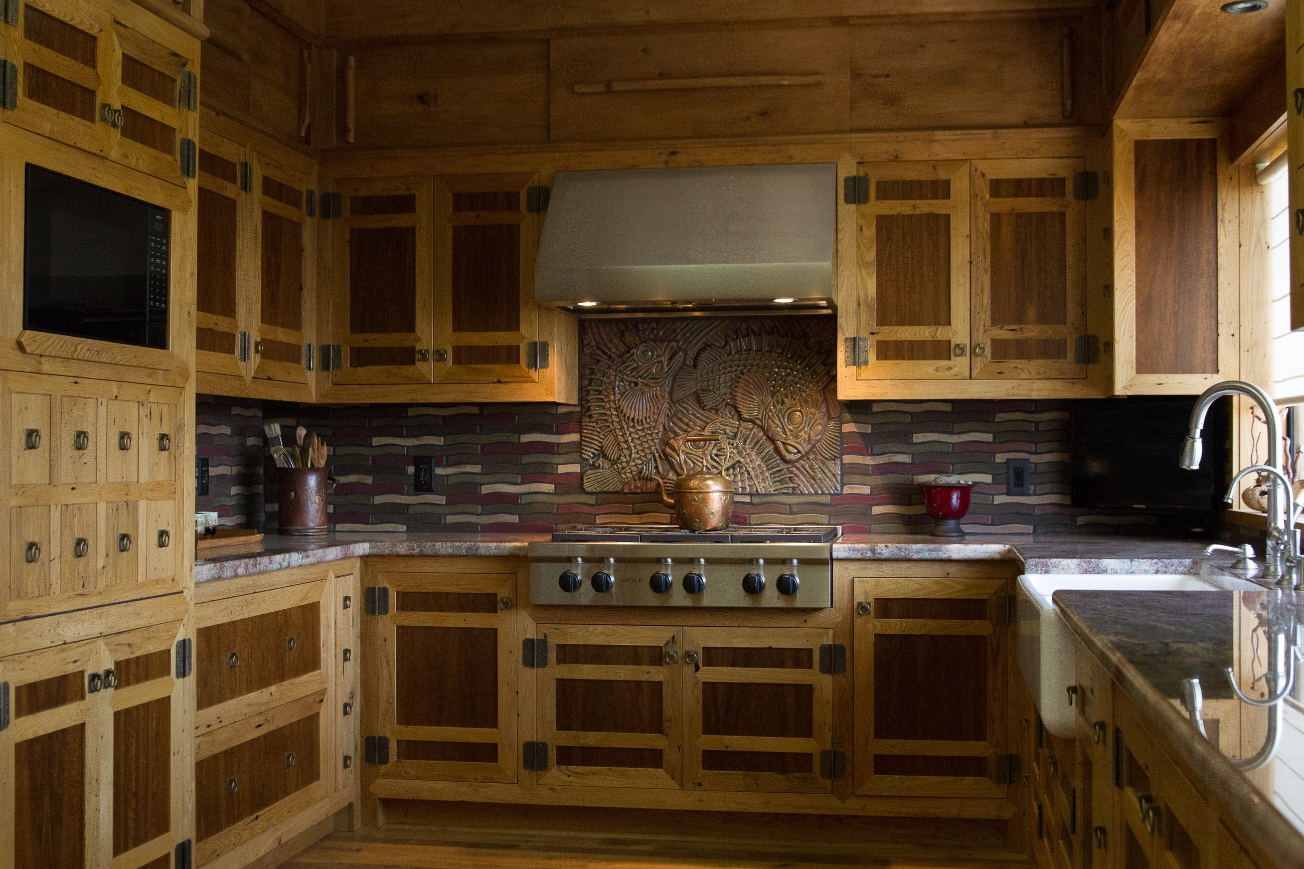 surfaced chestnut walnut kitchen cabinets - Reclaimed Planking Wormy Chestnut